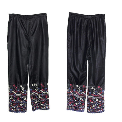 Embroidered Après-ski  Pants, Black Velveteen, Made in France