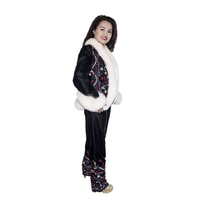 White Faux Fur & Embroidered Après-ski Jacket & Pants 3 Piece Set 3, Black Velveteen, Made in France