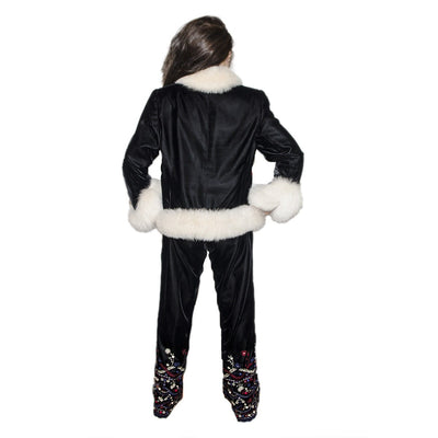 White Faux Fur & Embroidered Après-ski Jacket & Pants 3 Piece Set 4, Black Velveteen, Made in France