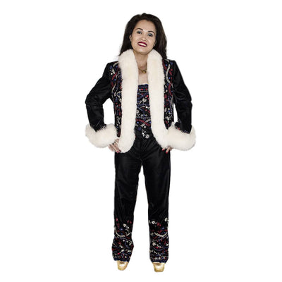 White Faux Fur & Embroidered Après-ski Jacket & Pants 3 Piece Set 2, Black Velveteen, Made in France