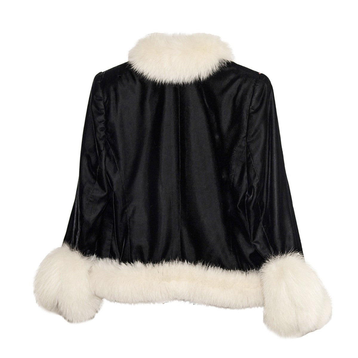 White Faux Fur & Embroidered Après-ski Jacket 2, Black Velveteen, Made in France