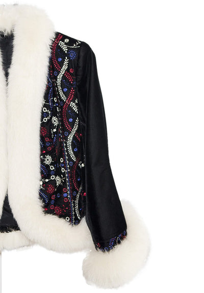 White Faux Fur & Embroidered Après-ski Jacket & Pants 3 Piece Set 13, Black Velveteen, Made in France