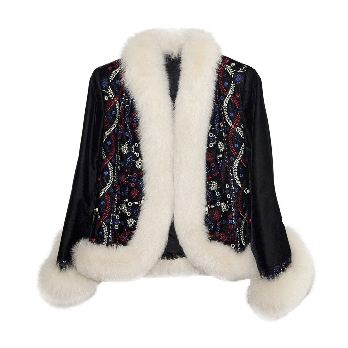 White Faux Fur & Embroidered Après-ski Jacket, Black Velveteen, Made in France