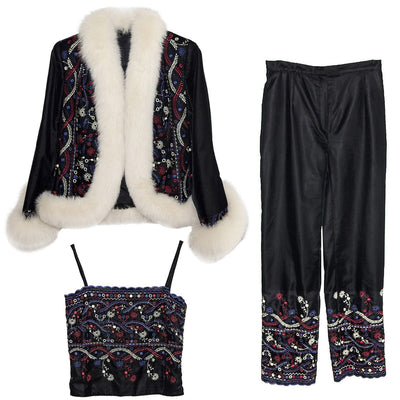 White Faux Fur & Embroidered Après-ski Jacket & Pants 3 Piece Set, Black Velveteen, Made in France