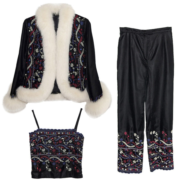 White Faux Fur & Embroidered Après-ski Jacket & Pants - 3 Piece Set, Black Velveteen, Made in France