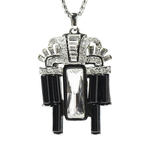 Kenneth Jay Lane (KJL) Art Deco Necklace, Black Resin & Rhinestones, Silver Chain