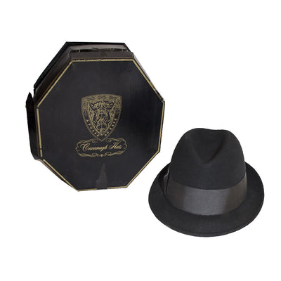 1960s Black Fedora 2 by Cavangh Edge, Marshall Fields, Frank Sinatra Style, Hat Size 7 1/8