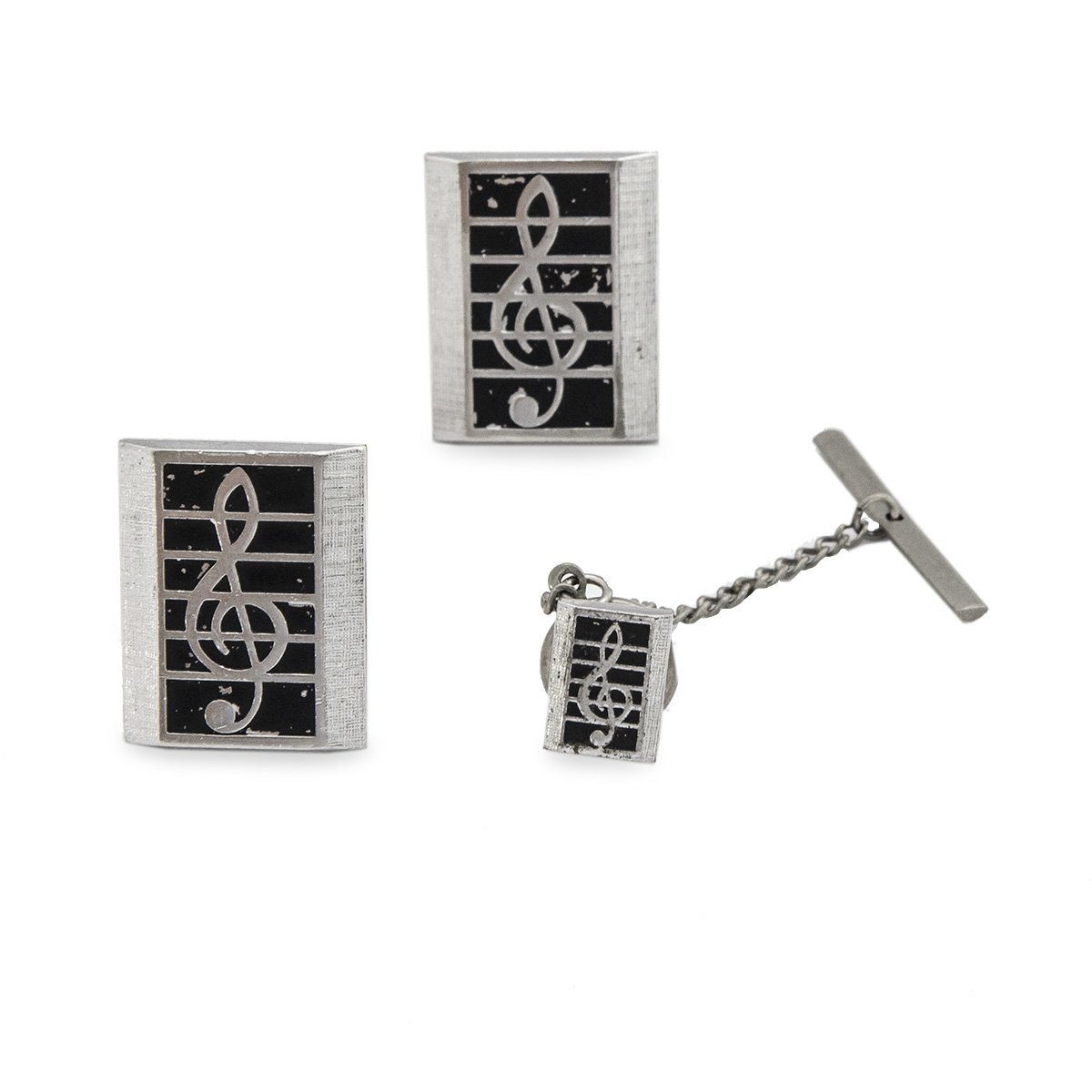 Vintage Treble Clef Cufflinks & Tie Tac Set