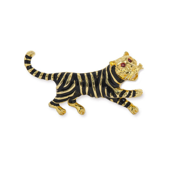 Vintage Black Enamel Tiger Brooch