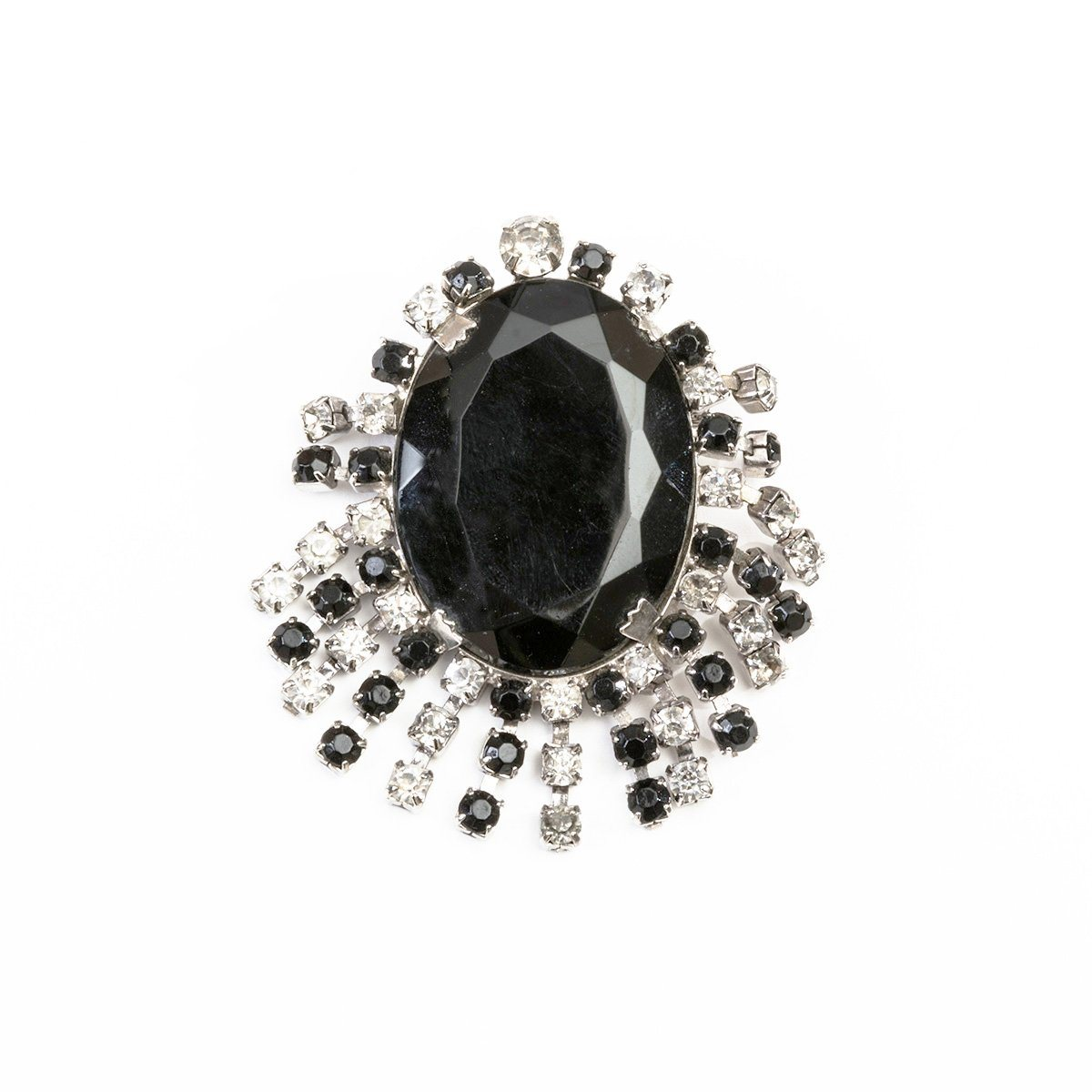 Vintage Rhinestone Fringe Brooch, Faceted Black Glass Center