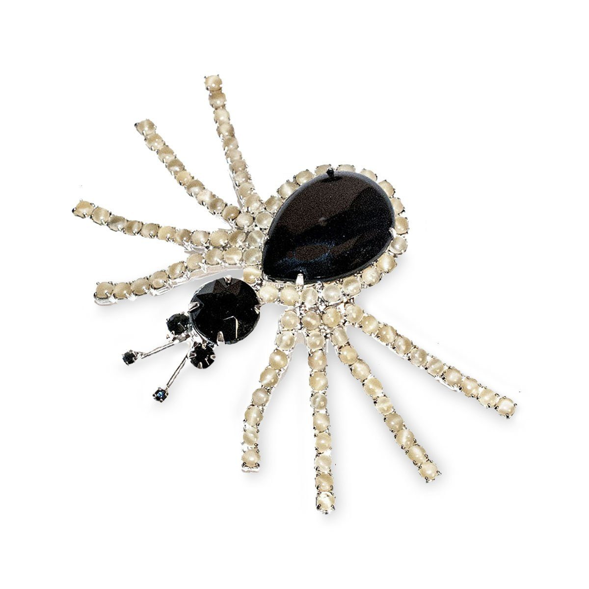 Vintage Spider Brooch, Black Faceted Glass & Faux Pearls