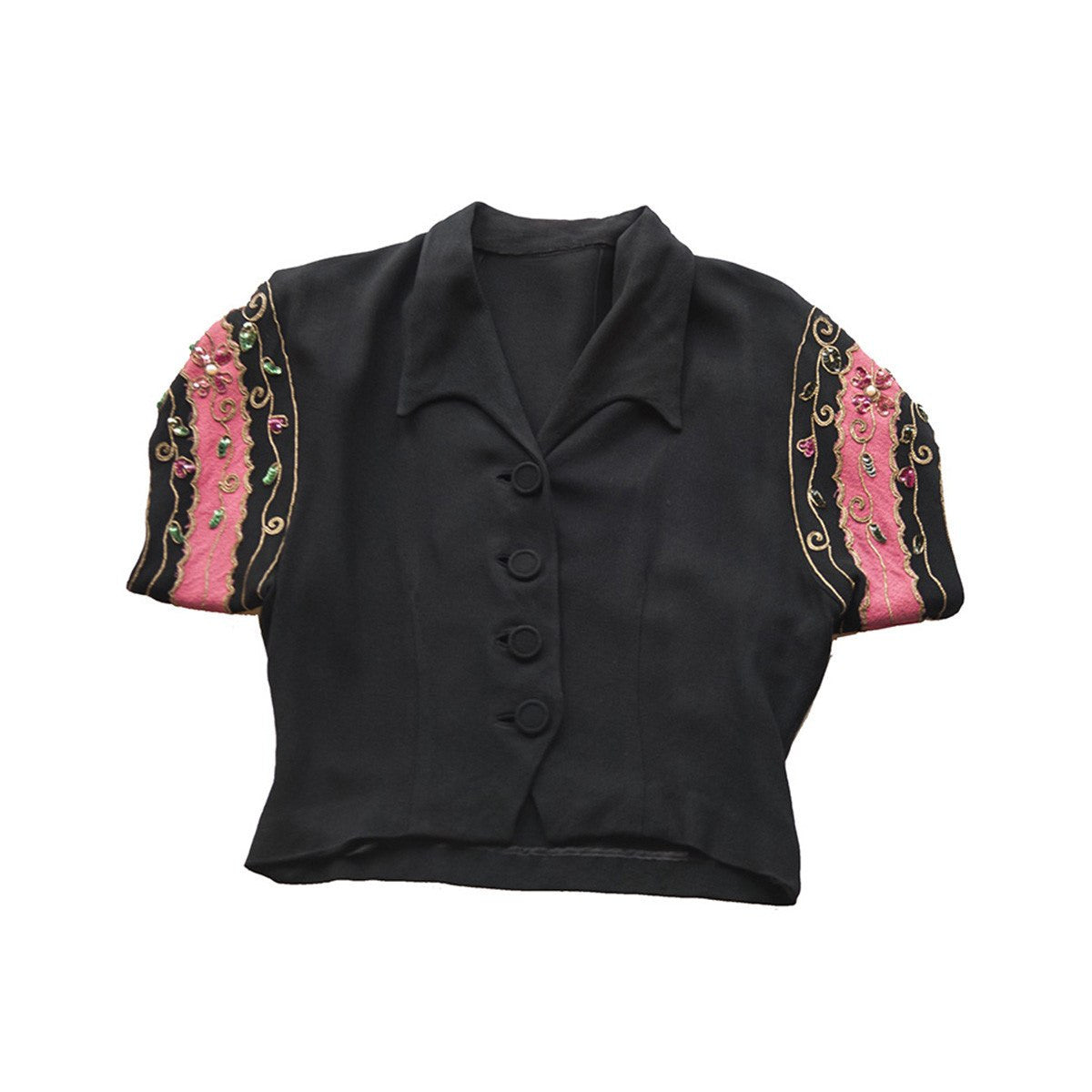 1940s Bolero Style Blouse with Rhinestones in Pink & Black Silk Crepe de Chine