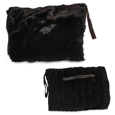 1950s Black Sheared Beaver Muff with Change Purse