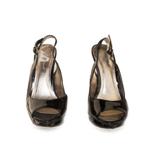 Black Patent Leather Peep Toe Slingback Stilettos, BCBGeneration, Size 8.5