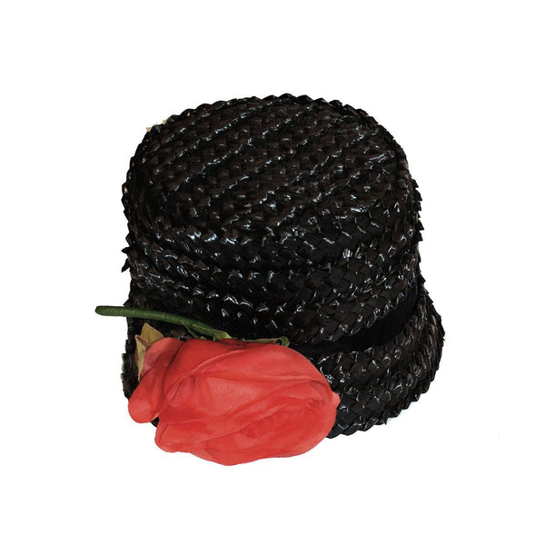 1960s Black Straw Bucket Hat, Large Silk Red Rose