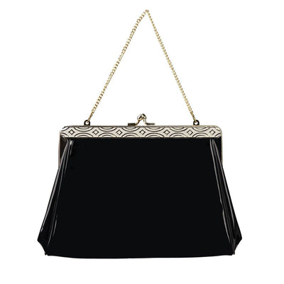 Harry Levine Black Patent Clutch / Evening Bag with Gold Chain