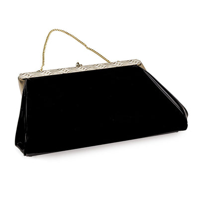 Harry Levine Black Patent Clutch 4 / Evening Bag with Gold Chain