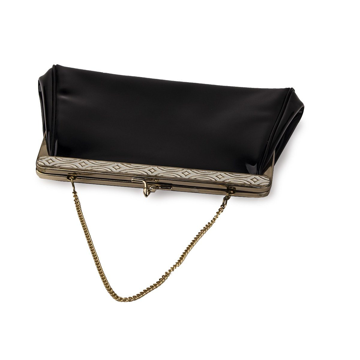 Harry Levine Black Patent Clutch 3 / Evening Bag with Gold Chain