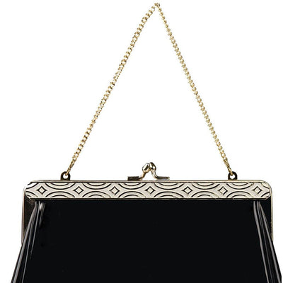 Harry Levine Black Patent Clutch 2 / Evening Bag with Gold Chain
