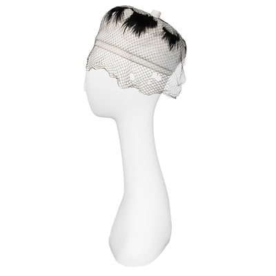 Vintage 1960s Black & White Feather Turban, Hat Size 21