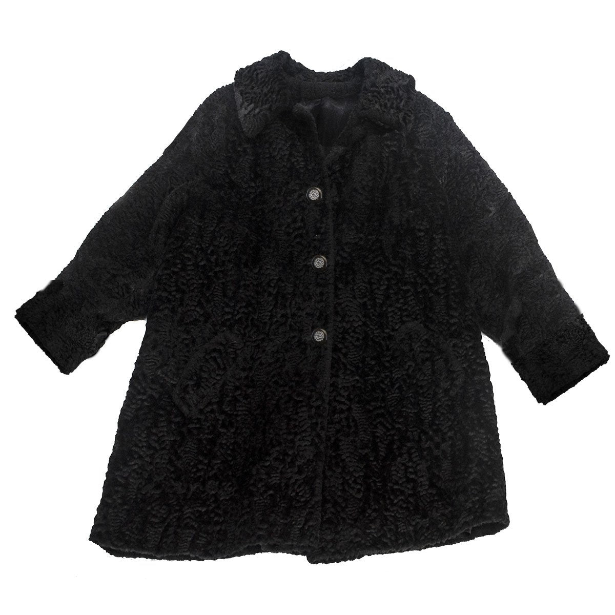 Vintage 60s Black Persian Lamb Car Coat