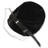 Black Velvet Close Hat 2, Lacquered Quill Feather