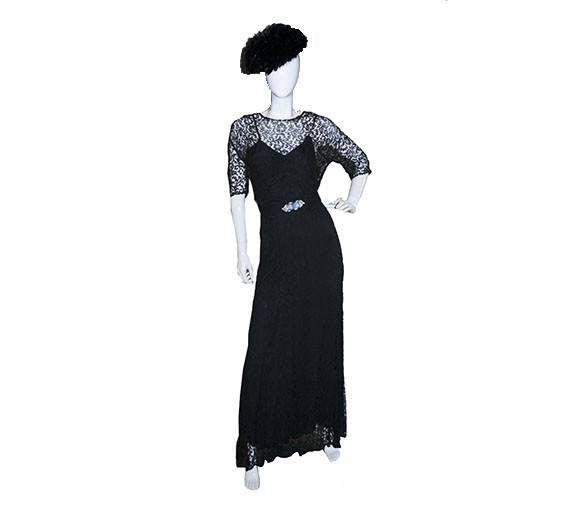 1930s Black Lace Gown, Rhinestone Art Deco Buckle