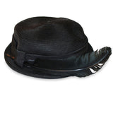 1950s Black Straw Hat 2 with Lacquered QuillÊFeather