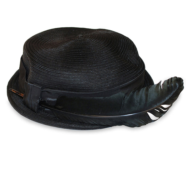 1950s Black Straw Hat with Lacquered Quill Feather