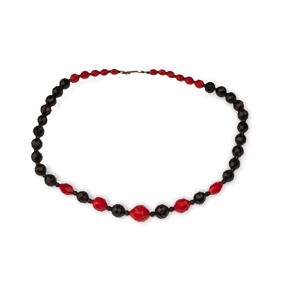 1950s Red & Black Glass Bead Necklace, 24