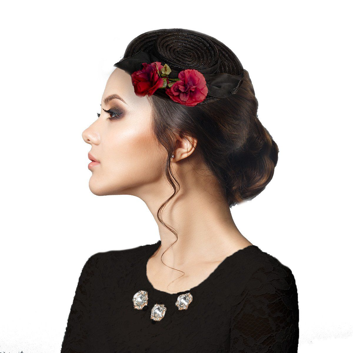 "1940s Black Straw Tilt ""Doll Hat"" with Red Silk Roses"