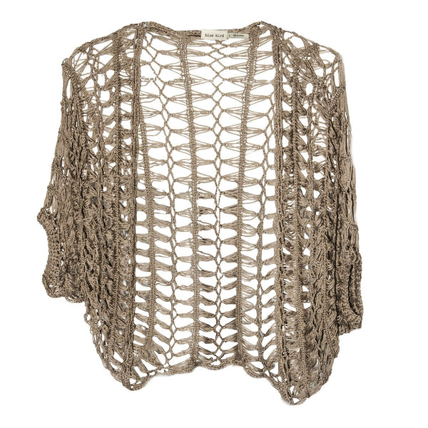 Taupe Brown Crochet Shrug