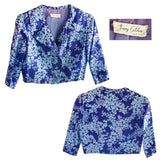 Blue Silk Floral Jacket & Skirt 5 with Belt by Jerry Gilden NY