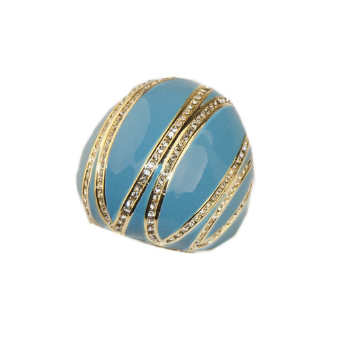 Joan Boyce Bubble Ring, Turquoise Blue Enamel & Crystals, Ring, Size 6