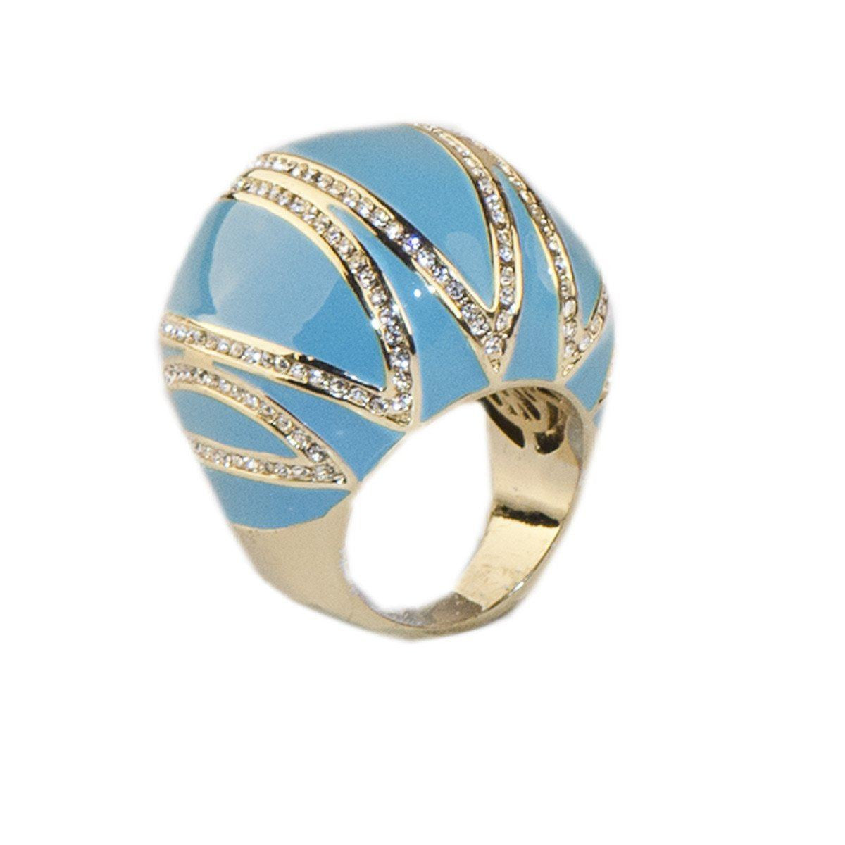 Joan Boyce Bubble Ring 3, Turquoise Blue Enamel & Crystals, Ring, Size 6