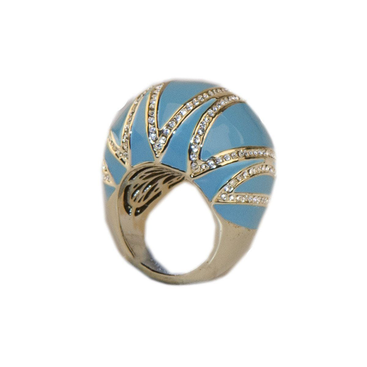 Joan Boyce Bubble Ring 5, Turquoise Blue Enamel & Crystals, Ring, Size 6