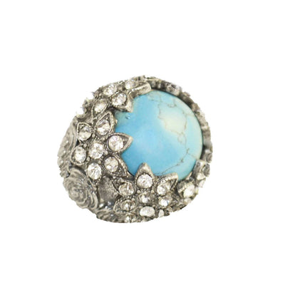 Victorian Revival Ring, Faux Turquoise & Rhinestones, Adjustable