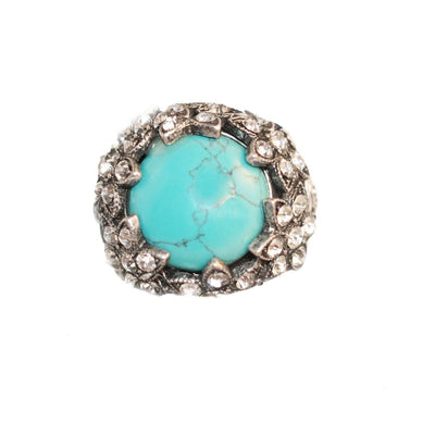 Victorian Revival Ring 2, Faux Turquoise & Rhinestones, Adjustable