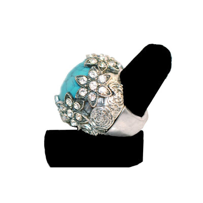 Victorian Revival Ring 3, Faux Turquoise & Rhinestones, Adjustable