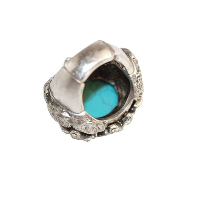 Victorian Revival Ring 4, Faux Turquoise & Rhinestones, Adjustable
