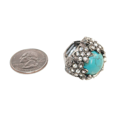 Victorian Revival Ring 5, Faux Turquoise & Rhinestones, Adjustable