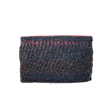 1960s Beaded Evening Clutch, Dark Blue Beads on Red Satin