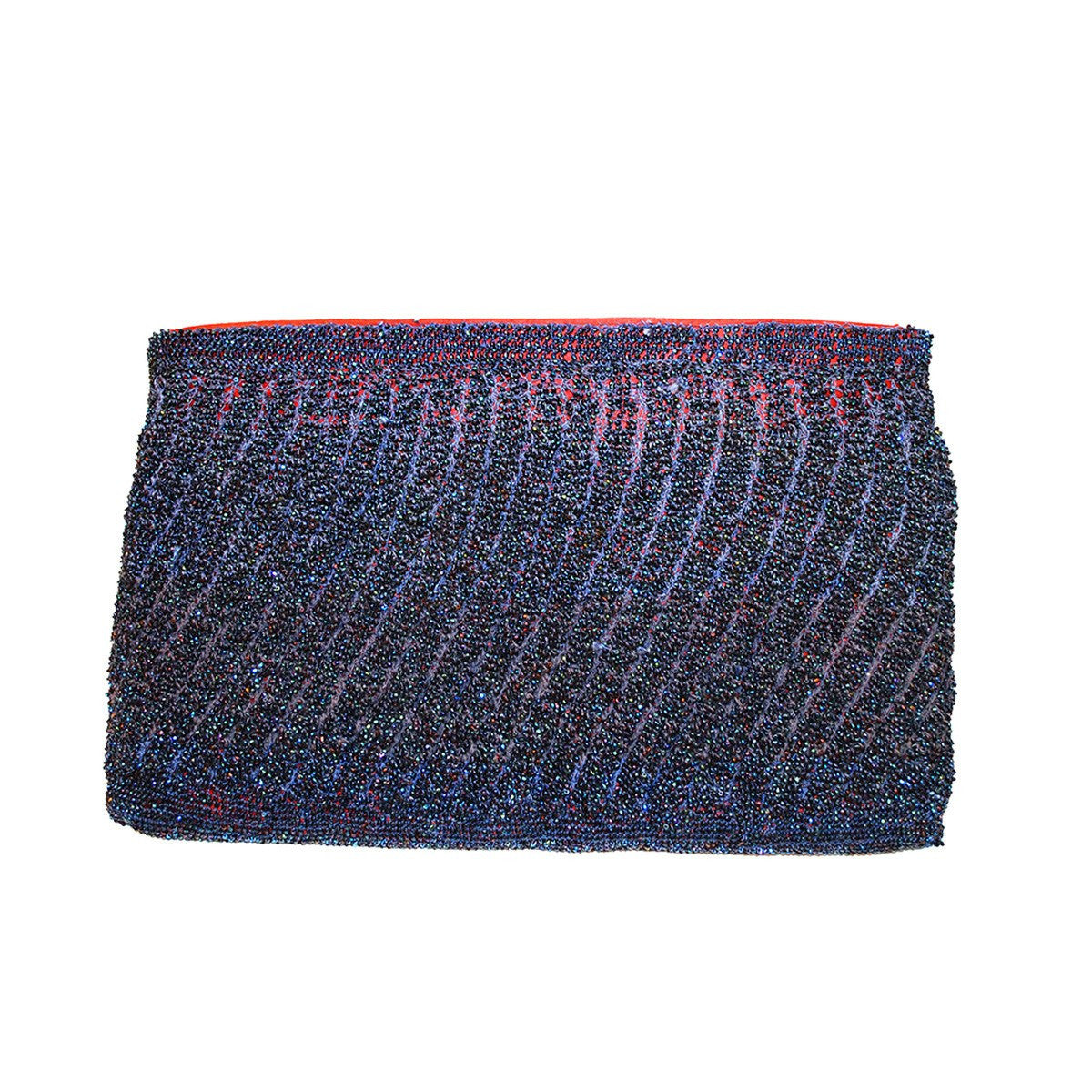 1960s Beaded Evening Clutch 3, Dark Blue Beads, Red Satin Lining