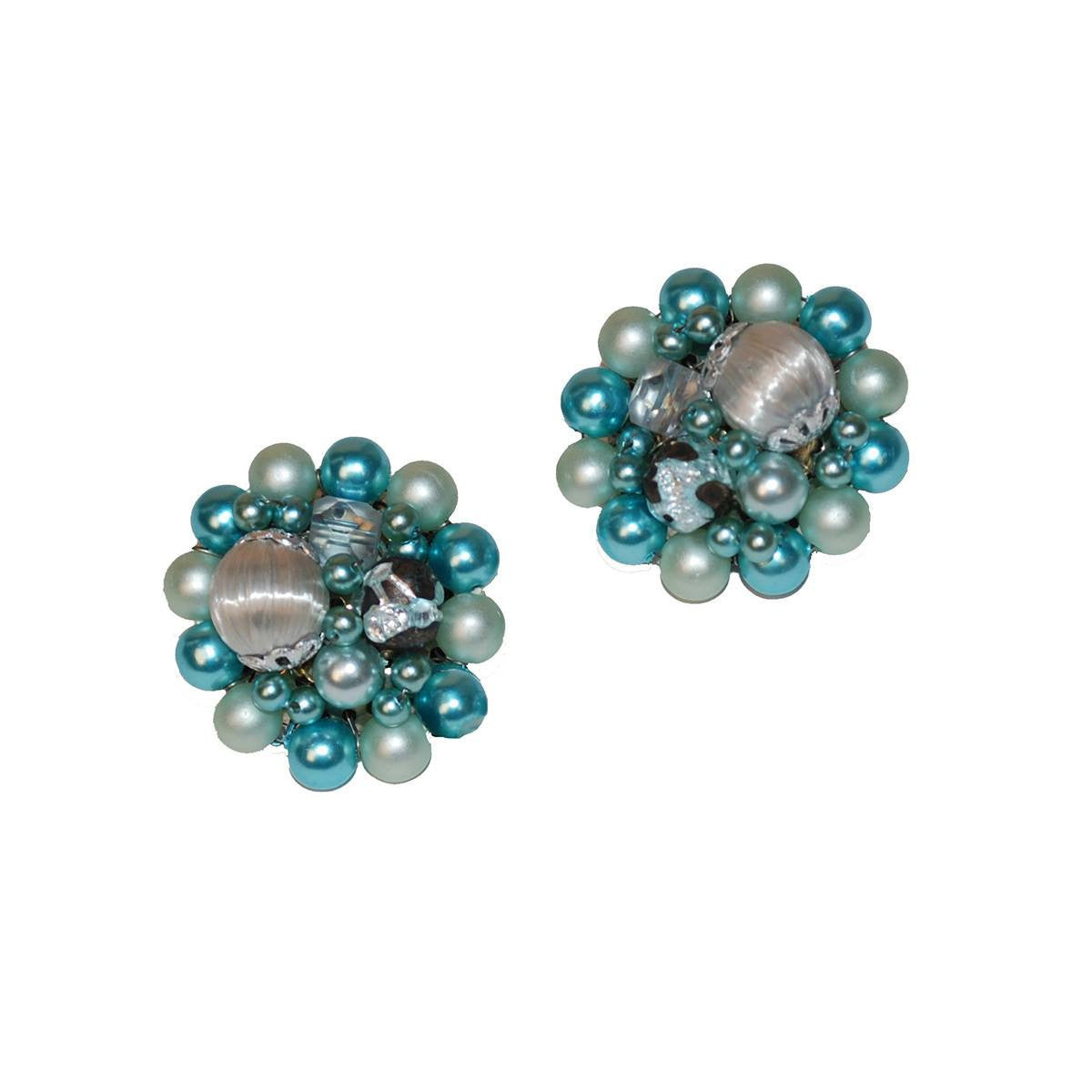 Mid-Century Blue Cluster Bead Earrings, Made in Japan