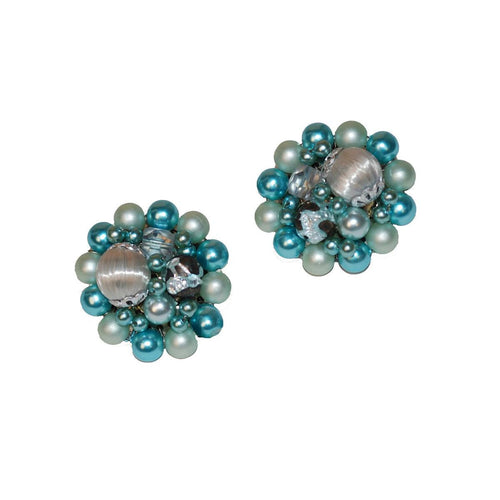 Mid-Century Blue Cluster Bead Earrings 3, Made in Japan