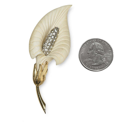 Boucher Calla Lily Brooch 3, Rhinestones & Cream Thermoset Plastic