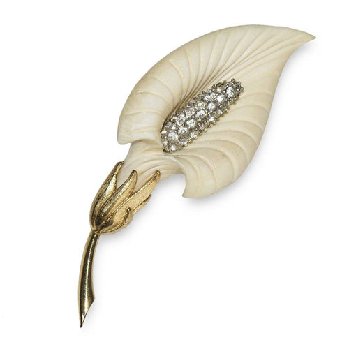 Boucher Calla Lily Brooch, Rhinestones & Cream Thermoset Plastic