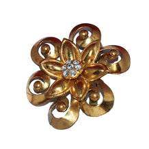 Vintage 1950s Modernist Brass Brooch, Brass Millegrain Flower with Rhinestones