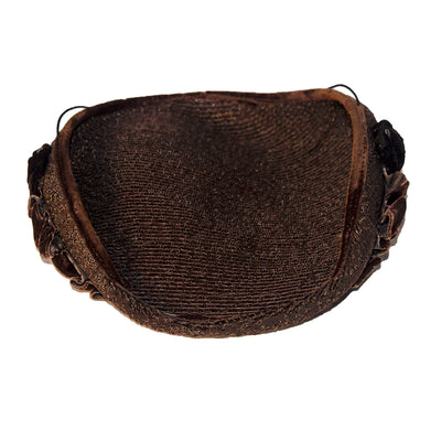 Brown Straw Close Hat, Brown Velvet & Rhinestone Trim 6