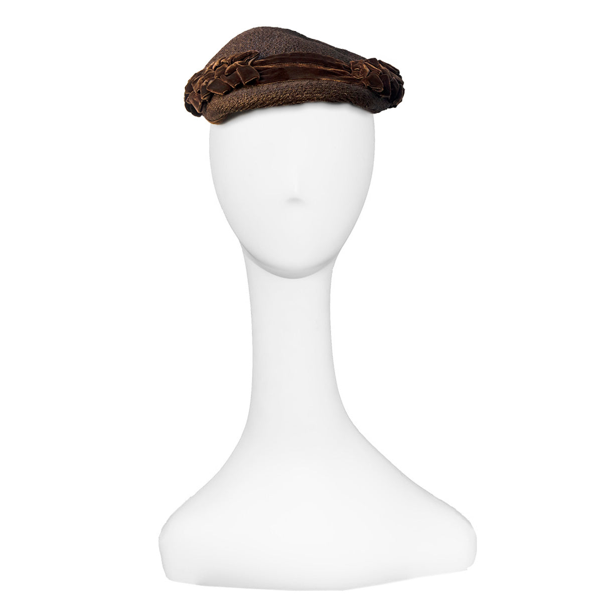 Brown Straw Close Hat, Brown Velvet & Rhinestone Trim 2